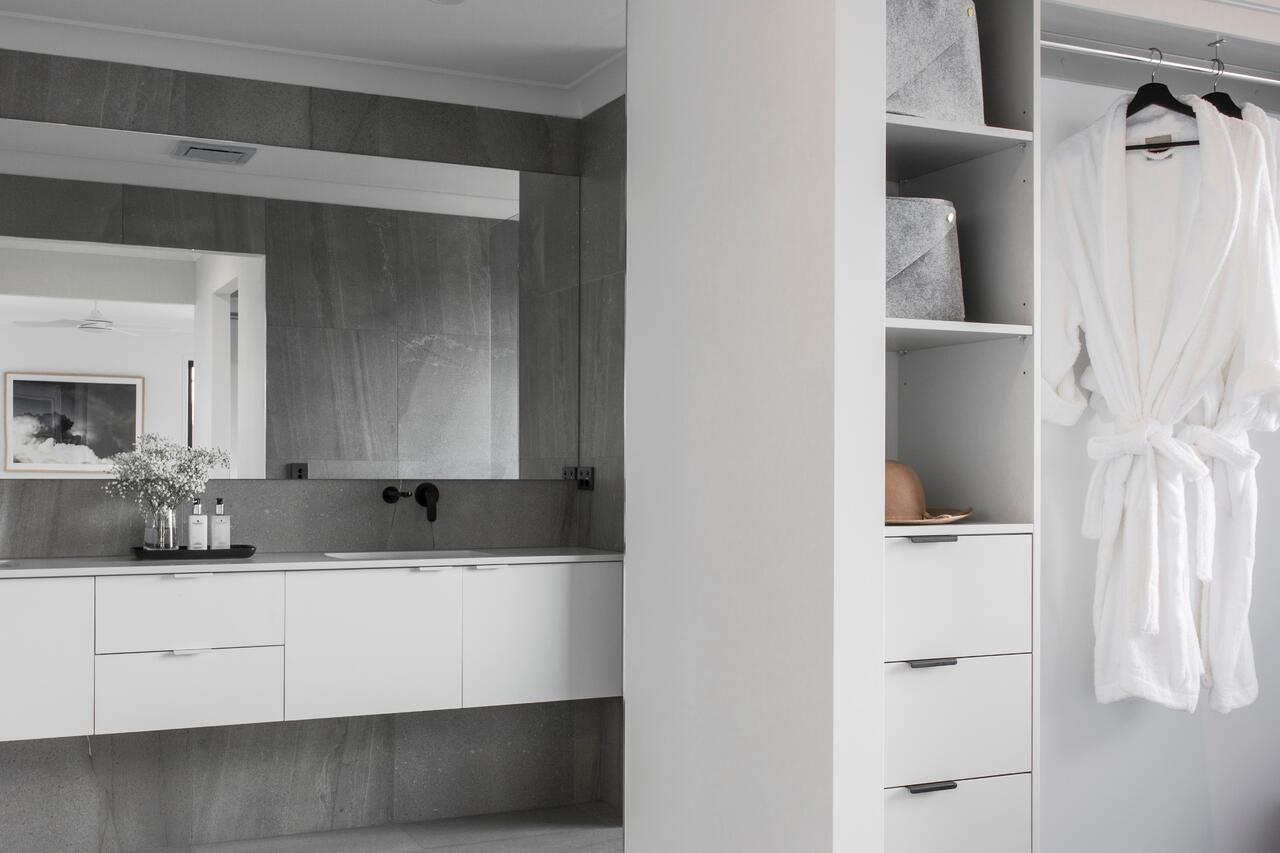DC Living New Home Master Bedroom Ensuite Bathroom Grey